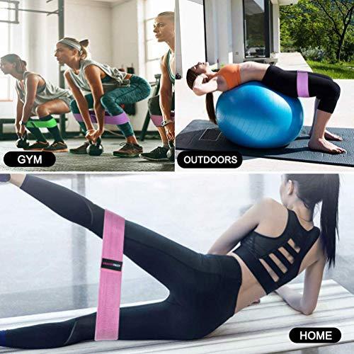 ARAMINPROT Bandas Elásticas Musculación Ejercicio Cadera Glúteos Antideslizantes Bandas de Resistencia de Tela 3 Niveles Cadera Piernas, Brazos, Yoga, Pilates, Fitness, Crossfit- para Hombre y Mujer
