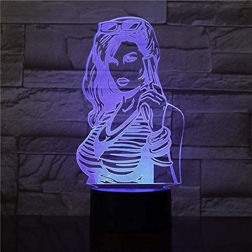 Figura de película 3D lámpara de mesa de luz de noche LED que cambia de color acrílico USB decoración regalo