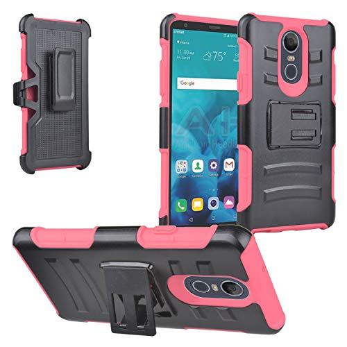 LG Stylo 4 (2018), Stylo4+ Plus, LM-Q710, LM-L713DL – Hybrid-Schutzhülle mit Ständer/Gürtelclip, Bildschirmschutzfolie aus gehärtetem Glas, CV2 Hot Pink/Black