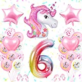 TOLOYE Unicornio Decoración de Cumpleaños 6 Años, Globo de Unicornio 3D con Pancarta de Cumpleaños Numero 6 Cumpleaños Globos Latex Globos para Decoracion de Fiesta de Cumpleaños Niña