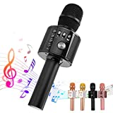 Ankuka Karaoke Microphone, 3 in 1 Multi-Function Handheld Bluetooth Wireless Karaoke Machine for Kids, Portable Mic Speaker Home, Party Singing Compatible with iPhone/Android/PC (Black)