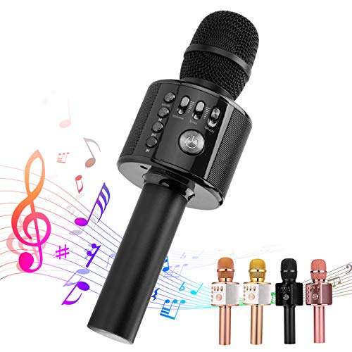 Ankuka Karaoke Wireless Microphone Bluetooth, 3 in 1 Multi-Function Handheld Karaoke Machine for Kids, Portable Mic Speaker Home, Party Singing(Black)