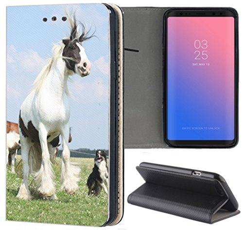 Huawei P20 Lite Hülle Premium Smart Einseitig Flipcover Hülle P20 Lite Flip Case Handyhülle Huawei P20 Lite Motiv (1285 Pferd H& Weiß Schwarz Blau)