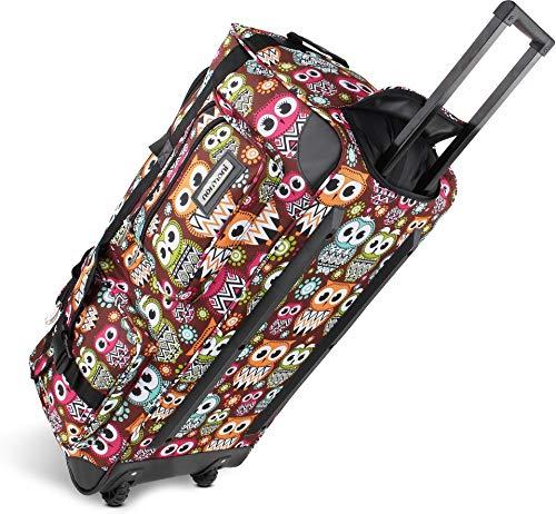 normani Leichte XXL Reisetasche Rollenreisetasche Trolley Sporttasche mit Rollen Farbe Retro Owl Größe 100 Liter