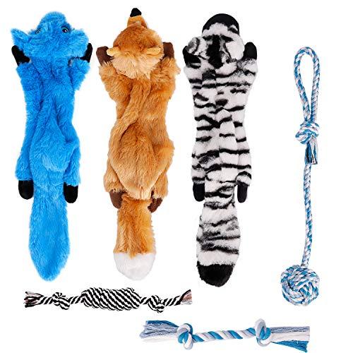 Toozey Juguetes para Perros Juguete Perro - 6 Piezas de Duraderos Peluches Juguetes para Perros pequeños - Mordedor Perro Cachorro Cama para Perros pequeños - algodón Natural