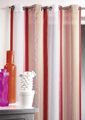 HomeMaison HM69321980 Voilage en Etamine à Rayures Verticales Polyester Rose Boudoir 140 x 260 cm