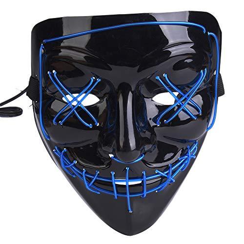 Tbest Maschera Spaventosa Maschera da Pagliaccio LED Multifunzione per la Festa di Natale Cosplay di Halloween Holiday … (Blu Modello D)
