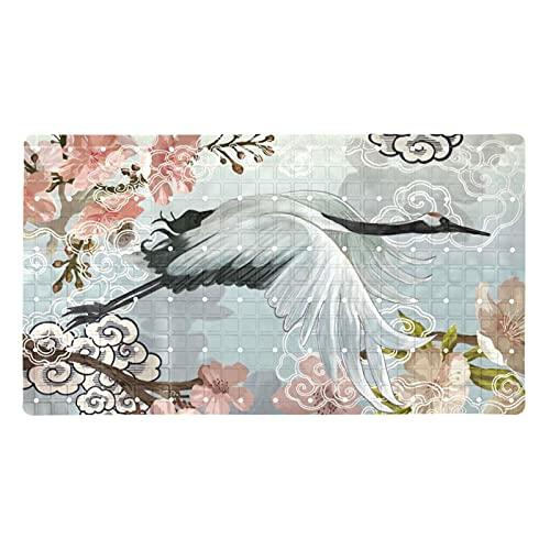 Monishan Alfombrilla de ducha elegante con diseño de grúa blanca,...