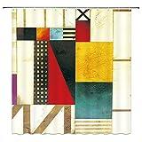 XCBN Patrón Azul Pintura Moderna Abstracta Mondrian Color Bauhaus Impermeable Tela de poliéster Cortina de Ducha A4 150x200cm