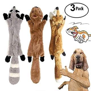 Enthält Waschbär, Fuchs und Eichhörnchen drei Arten von keine Füllung Hund Spielzeug, super wertvoll für Ihr Geld. Jedes Spielzeug enthält 2 Quietscher, es wird eine laute, quietschende Stimme machen, wenn Ihr Hund es beißt, und kann großes Interesse...