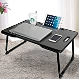 CHARMDI Lap Desk, Portable Bed Tray Lap Desk, Adjustable Bed Table, Notebook Standing Desk, Couch Table with Handle for Reading, Working, Eating Breakfast, Watching Movie on Bed, Sofa-Black