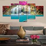 WLYUE-Imagen 100x55 cm/39.4'x21.7',5 Unids/Set Modern Blue Water Landscape Pintura de la Pared Impresión de la Lona Cascada Paisaje Pintura Modular Decoración de la Pared del hogar