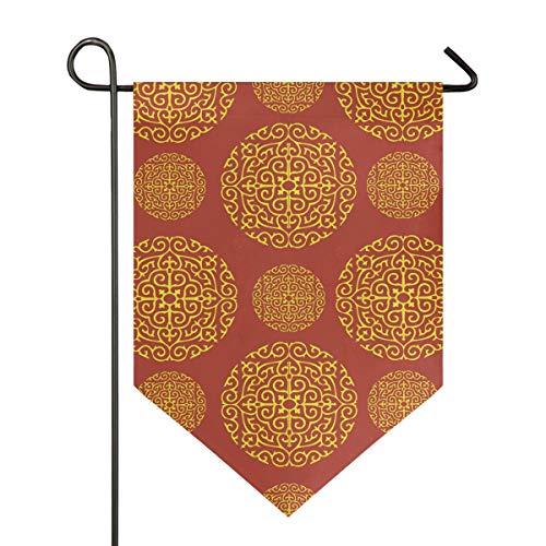 FANTAZIO Rood Goud Behang Voor Muren Tuinvlaggen Premium Kwaliteit Yard Vakantie en Seizoensgebonden Decoratieve Vlaggen Outdoor Decoratieve Vlaggen - Dubbelzijdig 12x18.5in 1 exemplaar