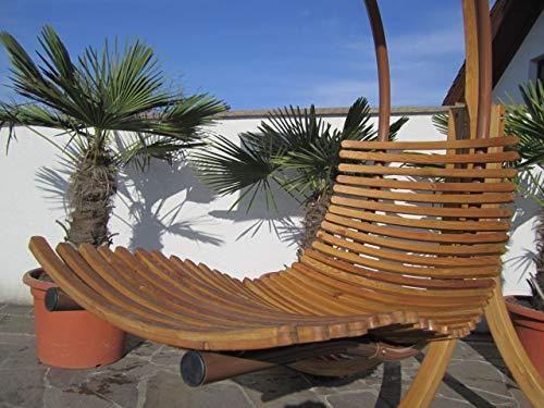 ASS DESIGN Hängeliege NAVASSA-SEAT aus Holz Lärche/Metall mit Auflage (OHNE Gestell) von Farbe:Braun - 3