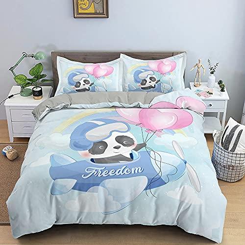 Funda Nordica 150x200 cm - Panda Animado Juego de Funda Nordica Cama 90 Infantil con Funda de Edredón de Microfibra y 2 Funda de Almohada 50x80 cm
