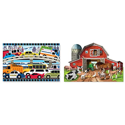 Melissa & Doug 24pc Traffic Jam Floor Puzzle & Busy Barn Shaped Floor Puzzle