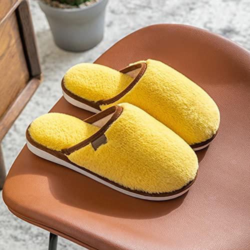 QPPQ Pantuflas de algodón, otoño e invierno cálido casa zapatillas, zapatillas de algodón de pareja de felpa-Yellow_4.5-5, cómodas zapatillas de algodón