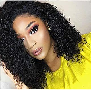 LUFFYWIG Curly Human Hair Wigs Silk Base Virgin Peruvian Human Hair Lace Front Wig Silk Top 130 Density Natural Color Hair Lace Wigs for Women 14