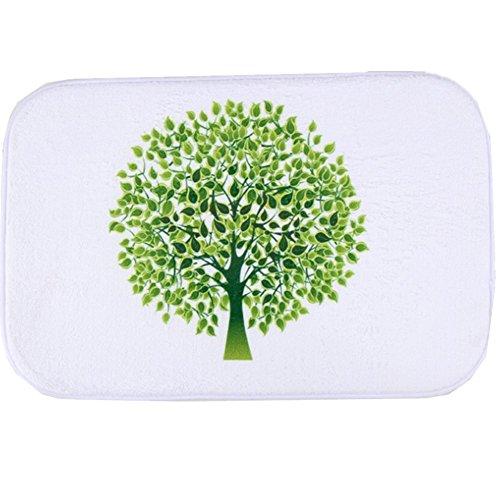 O-C Green Tree Pattern Outdoor Indoor Antiskid Absorbent Bedroom Livingroom Bath Mat Bathroom Shower Rugs Doormats
