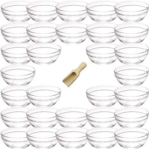 Viva-Haushaltswaren - 30 mini-Glasschälchen Schälchen für Koch-Zutaten,Gewürze, Dips, Tapas etc. Ø 6 cm, inkl. einer kleinen Holzschaufel 7,5 cm