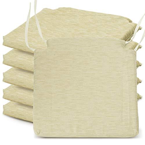 BCASE Pack de 6 Cojines de Asiento y Silla Espuma Fantasy, 40x40cm, Desenfundable con Cremallera, Cómodos, Resistentes, Fácil de Limpiar, para Cocina, Cuarto,Etc. Beige