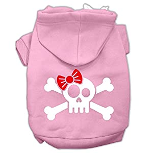 Mirage Pet Products Skull Crossbones Bow Screen Print Pet Hoodies, X-Small, Light Pink