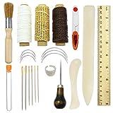 Juego de herramientas de encuadernación, 3 piezas de herramientas de costura premium para cuero,libros hechos a mano y papel DIY estantería,incluye agujas de costura/hilo encerado/regla de plástico