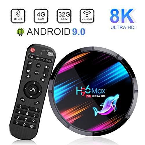 Android TV Box, H96 MAX X3 Android 9.0 TV Box con Amlogic S905X3 Quad-Core Cortex-A55 CPU [4GB RAM 32GB ROM] Smart TV Box Soporte 8K 3D 2.4G/5G WiFi Bluetooth 4.0 LAN 1000M USB 3.0 H.265