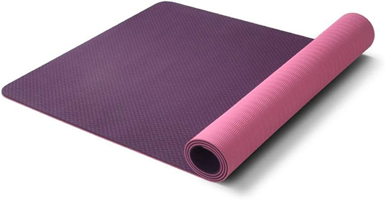 L-HOME TPE-Yogamatte Doppel-Yogamatte   183cm  80cm  6mm Umwelt Rutschfest Fitnessmatte (Farbe   lila)