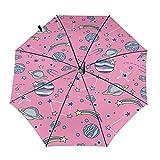 Diseño automático ligero compacto portátil del paraguas del viaje del planeta rosado y alta resistencia al viento
