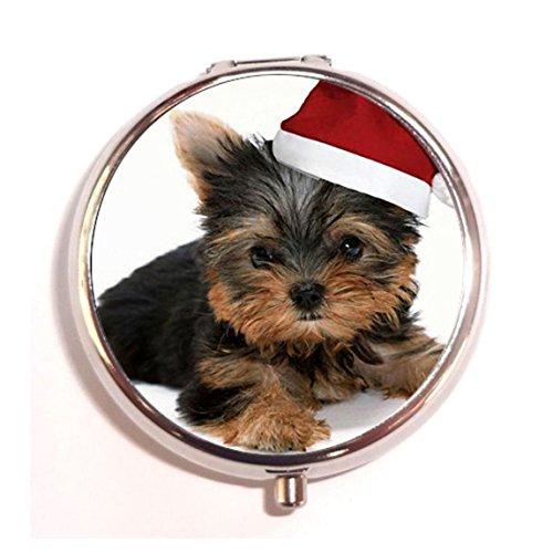 dier YorkshireTerrier Kerst Hoed Mode Aangepaste ronde Pill Box Case Medicine Vitamine Organizer als een leuk geschenk