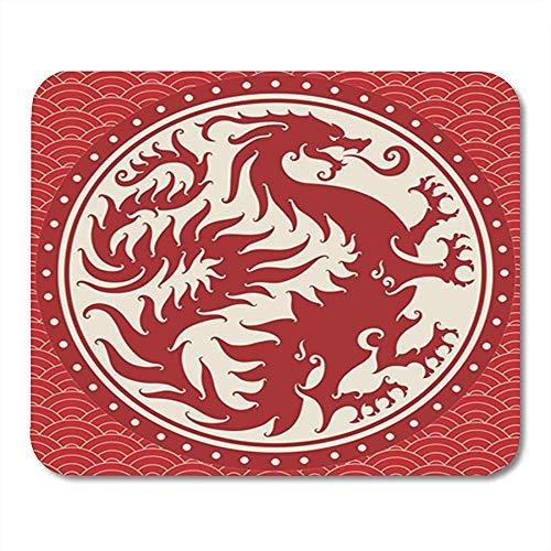 Spiel-Mausunterlage Altes chinesisches Drache-Wappen oder Symbol mit dem Wolken-Beschaffenheits-Arm 25X30 cm rutschfeste Gummiunterlage des Büro-Mäusematte