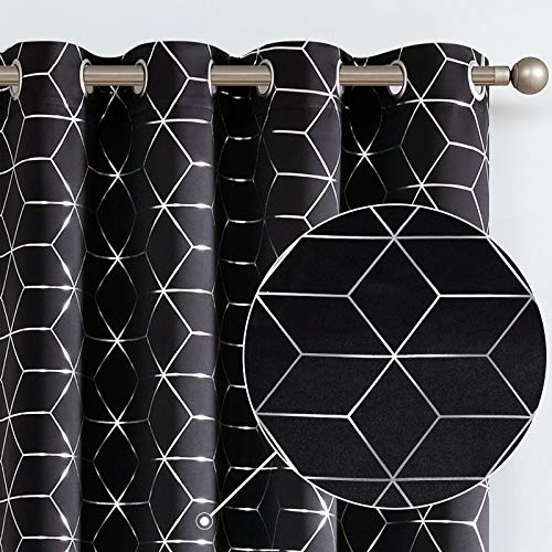 Vangao Sliver Foil Print Blackout Curtains Diamond Grommet Top 84 Inches Length Thick Triple Layers Room Darkening Quality Soft Thermanal Insulted Drapes for Living Room, Bedroom, 2 Panels ,Black
