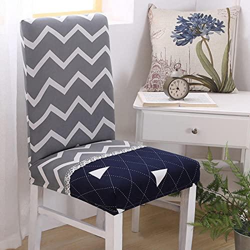 Universal stretch stolsskydd grå vågig avtagbart stolsskydd modernt skydd säte stol matsal överdrag skydd skydd för hotell fest bankett bröllop bukett 6/set