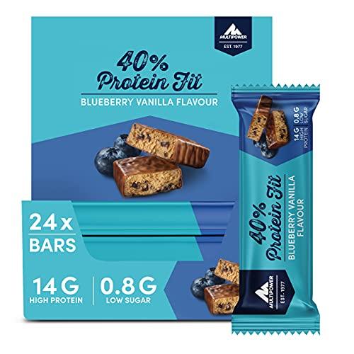 Multipower 40% Protein Fit – 24 x 35 g Eiweißriegel Box – Blaubeer Vanille – Fitnessriegel mit 40 % hochwertigem Milchprotein – 14 g Eiweiß pro Proteinriegel