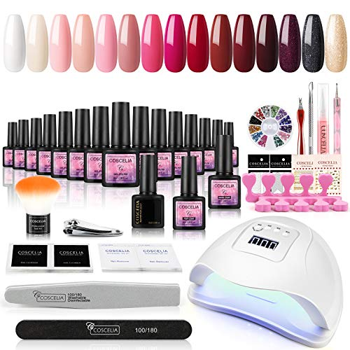 Saint-Acior 15pcs UV Gellack Starter Set UV Nagellack 80W UV/LED Nagellampe Nageldesign Set UV Gel Nägel Farbgel Maniküre Set