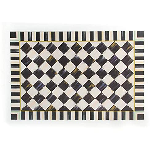 MacKenzie-Childs Courtly Check and Stripped Black and White Floor Mat 100% Vinyl - Floor Rug - 2' wide, 3' long