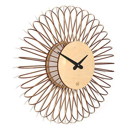 Horloge murale Circulo - En bois - Grande et colorée Totalement silencieuse et idéale pour le salon, la cuisine, la chambre à coucher, le couloir et le bureau