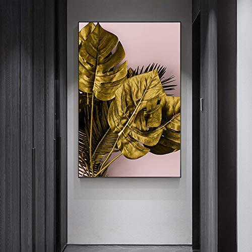 Geen frame en jumpsuit herramientas, gouden Monstera blad plant canvas olie ng, afdrukken kleuterschool, familie muurschildering50x70cm