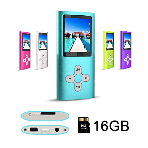 RHDTShop MP3 MP4 Player with a 16 GB Micro SD Card, Support UP to 64GB TF Card, Rechargeable Battery, Portable Digital Music Player/Video/E-Book Reader, Ultra Slim 1.7' LCD Screen-Blue&White