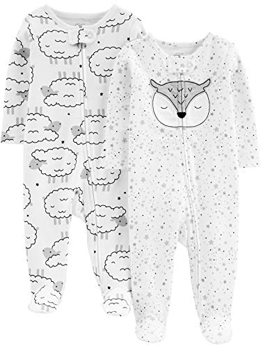 Simple Joys by Carter's Baby Neutral 2-Pack Cotton Footed Sleep and Play, sheep/owl, Newborn