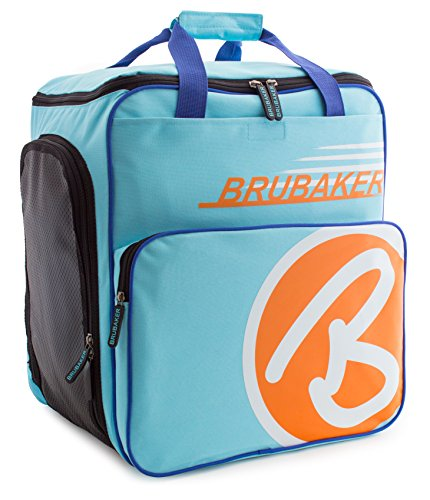 Brubaker Skischuhtasche Helmtasche Skischuhrucksack Super Champion Hellblau Orange - Limited Edition -