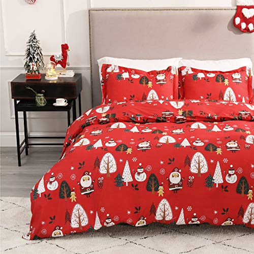 Bedsure Christmas Duvet Cover Set, 2 Pieces Twin Size Comforter Cover Set 68'x90', Super Soft New Year Holiday Bedding Set, Red Santa Claus