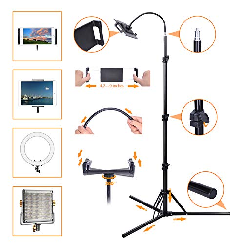 """Floor Tripod for Cell Phone and Small Tablet, 360 Degree Flexible Universal Smart Phone Stand with Clamp, Long Leg and Reliable Stand Holder for 4.7""""-9"""" Phone and Small Tablet"""