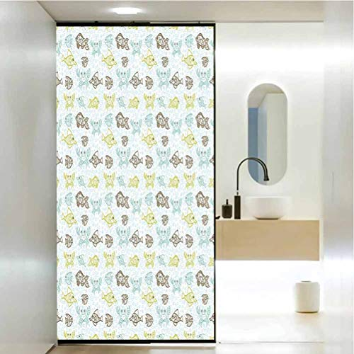 UV/Privacy/Thermal Window Stickers, Fishes Aquarium Animals Tropical Fishes and Crabs on Seafoam Backdrop Aquatic Doodle Sketch, Living Room Bedroom Kitchen Lobby Porch Office 35.4x78.7 in, MUL