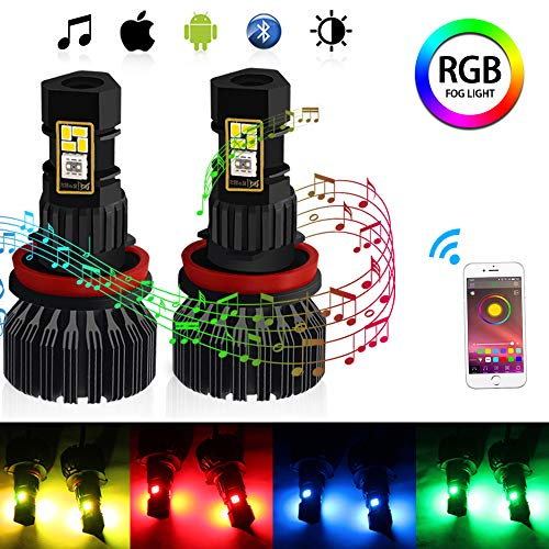 CIIHON H11 H8 H9 RGB LED Fog Light Bulb Multicolor Wireless APP Bluetooth Control 1800 Lumens DRL Fog Driving Lights Bulbs Replacement Pack of 2