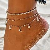 Brishow Bohe - Cavigliera a strati con ciondolo a mezzaluna e perline per cavigliere in or...