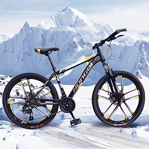 General Packaging 26-inch 21-Speed Men's Mountain Bike, High-Carbon Steel Hard-Tail Mountain Bike, Mountain Bike With Full Suspension Adjustable Seat (Gold)