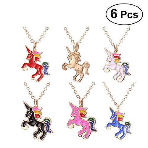 TENDYCOCO Unicornio Collar Lindo Caballo Colgantes Collares para niñas Damas 6 Piezas
