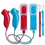 TechKen Controller für Wii,Remote für Wii Motion Plus und Nunchuk Fernbedienung für Wii mit Silikonhülle Handschlaufe
